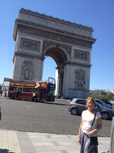 Bridget at the Arc de Triomphe in Paris