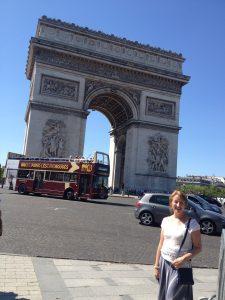 Bridget at the Arc de Triomphe in Paris