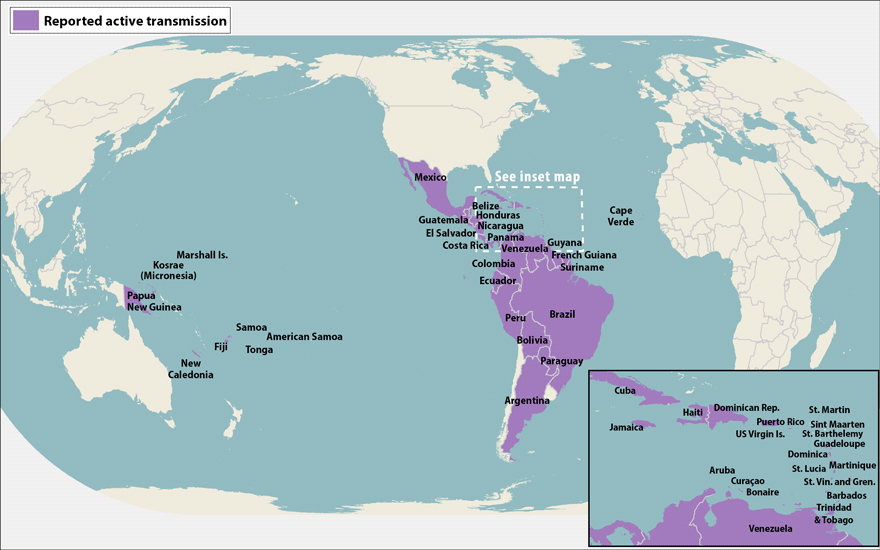 Zika virus outbreak map