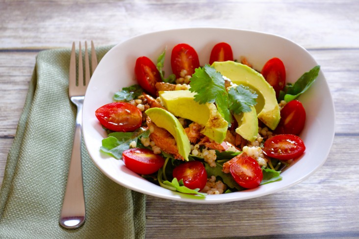Salmon Arugula-tomato-and-avocado-bowl- triadtowellness732x488