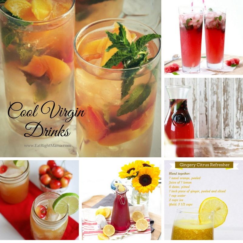 Collage of cool virgin drinks from EatRightMama.com blog.