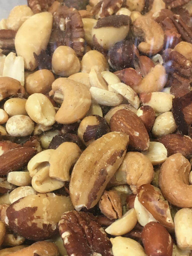 Mixed nuts including peanuts, almonds, cashews and brazil nuts
