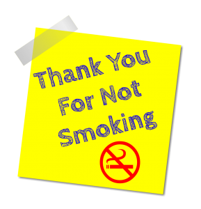 Thank you for not smoking sign. Tips to be pregnant and smoke-free.