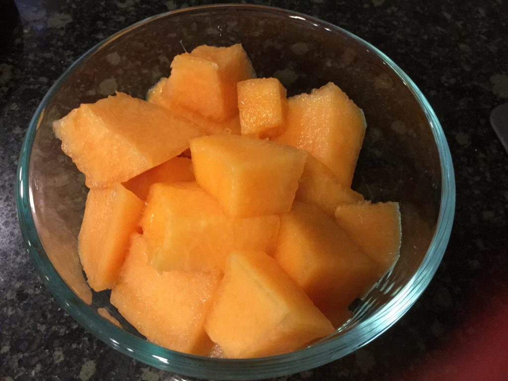 Bowl of melon--recommended to satisfy sweet & juicy cravings during pregnancy.