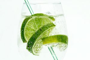 Refreshing club soda with lime.