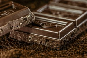 Squares of dark chocolate. The caffeine content CAN add up.