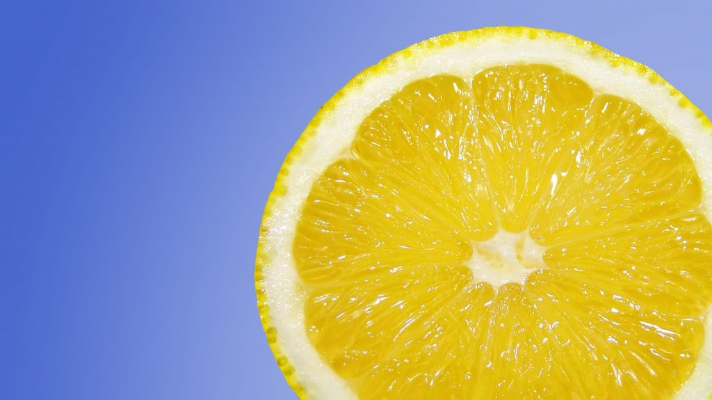 Lemon slice. Did you know lemon helps morning sickness?