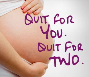 "Mom's pregnant belly ""Quit for You, Quit for Two."" How to be smoke-free"