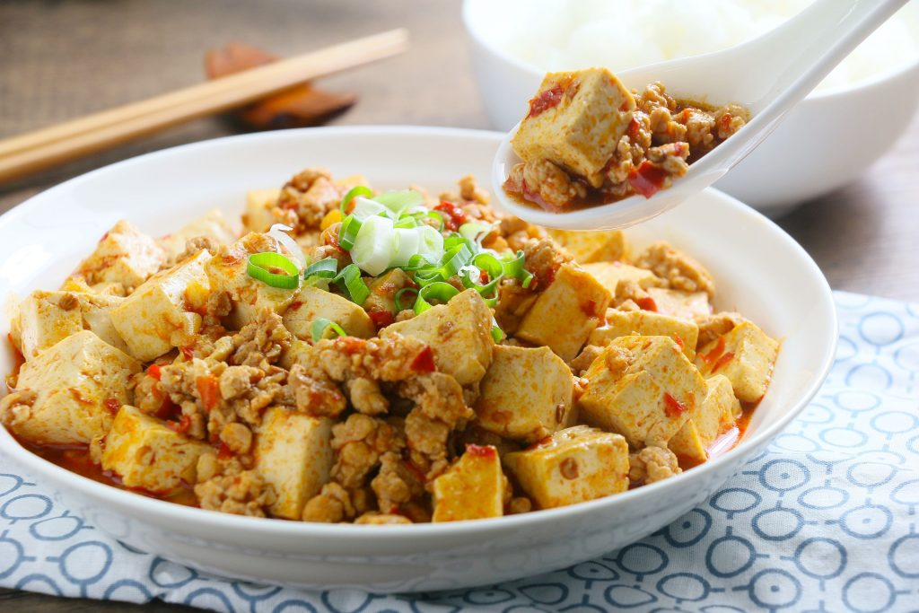 Tofu stir friend with red peppers and green onions