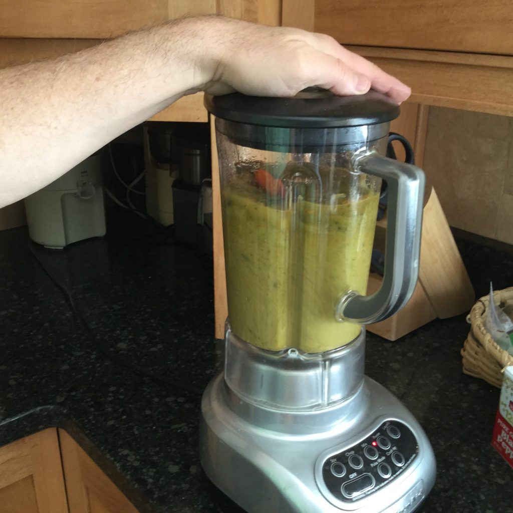 Green vegetables blended into soup