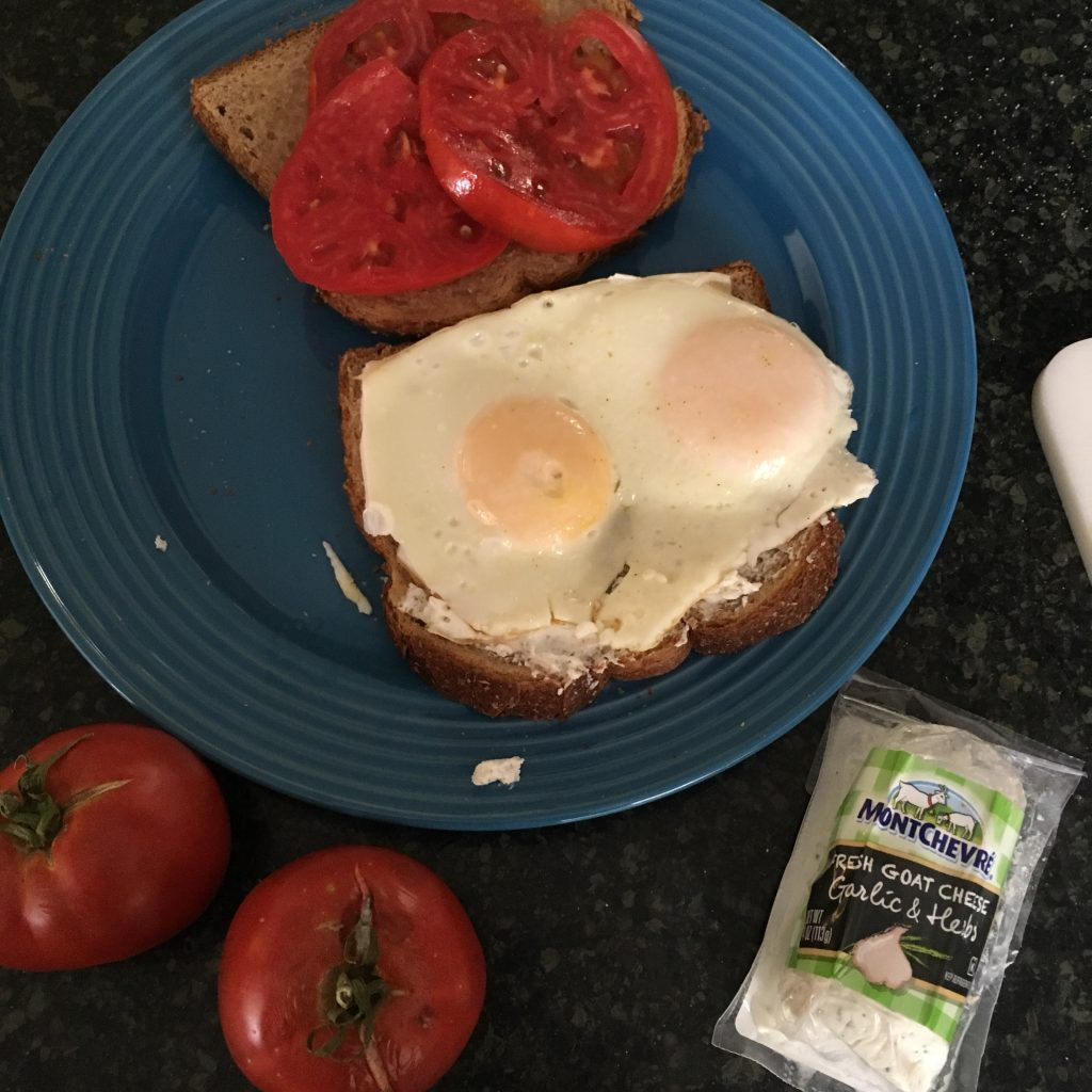 Egg sandwich with tomato & chevre--veggie ideas at www.eatrightmama.com