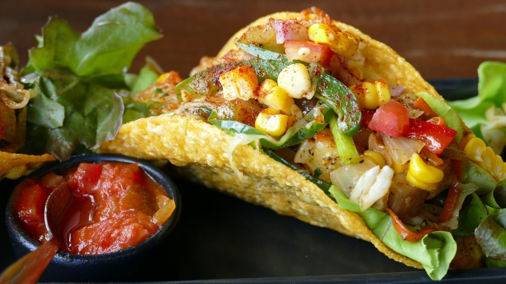 Taco shell with lots of veggies-more ideas at www.eatrightmama.com