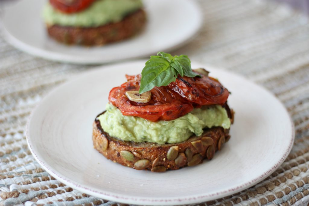 High protein avocado toast from Abbeyskitchen.com. More avocado recipes and fertility tips at eatrightmama.com