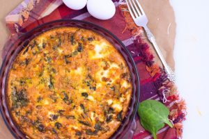 Veggie Lovers Crustless Quiche:part of Twelve Days of Christmas post on eatrightmama.com bit.ly/2hAsoG3