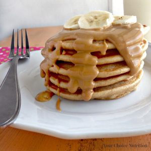 Peanut butter protein pancakes from yourchoicenutrition. More PB recipes at www.eatrightmama.com