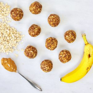 #Banana #peanutbutter snack bites recipe from Kelly Jones, MS, RD