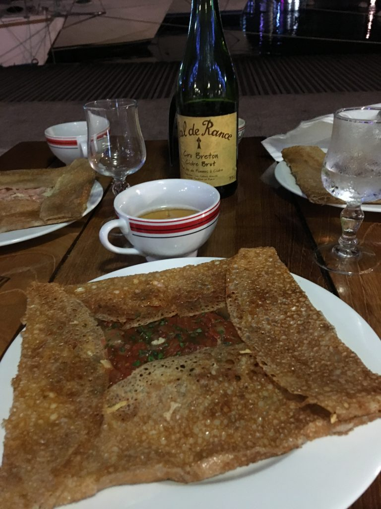 Crepe with mugs of cider